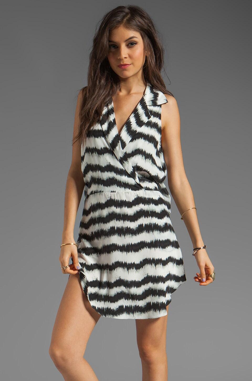Tracy Reese Ikat Silk Print Surplice Dress in Black/White Ikat Stripe