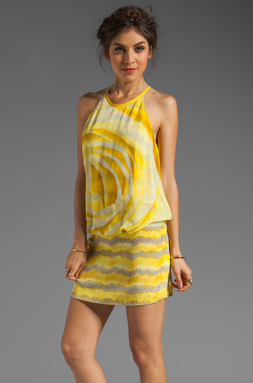 Tracy Reese Mash Up Silk Print Blouson Mini Dress in Daisy Combo
