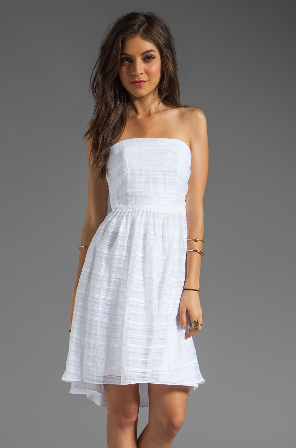 Tracy Reese Sheer Solid Stripes High/Low Strapless Dress in White