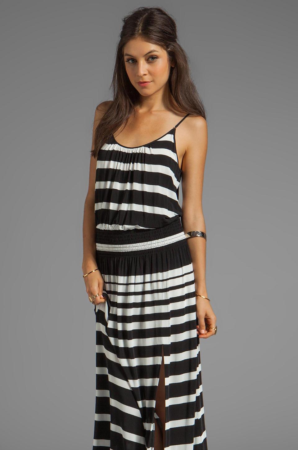 Tracy Reese Striped Jersey High Slit Maxi Slip in White Black