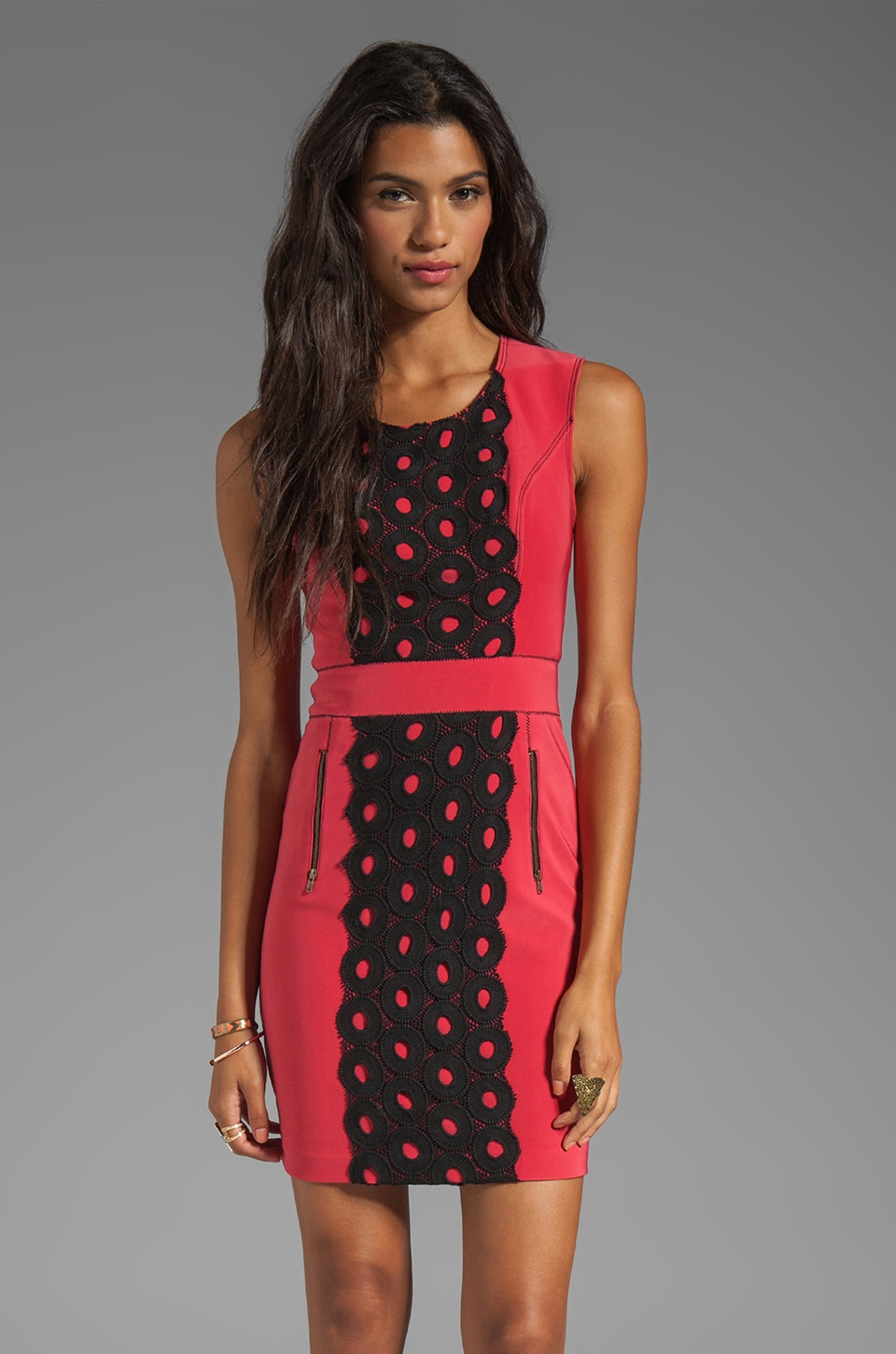 Tracy Reese Lightweight Neoprene Lace Front Shift Dress in Cayenne