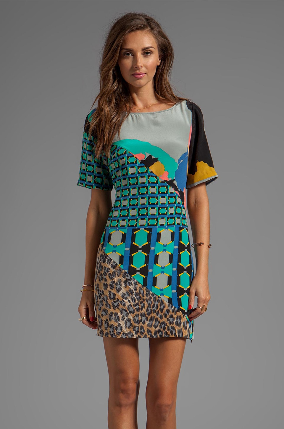 Tracy Reese Silk Prints Spliced Shift Dress in Multi