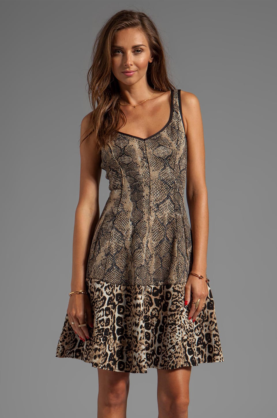 Tracy Reese Printed Neoprene Combo Frock Dress in Python/Cheetah