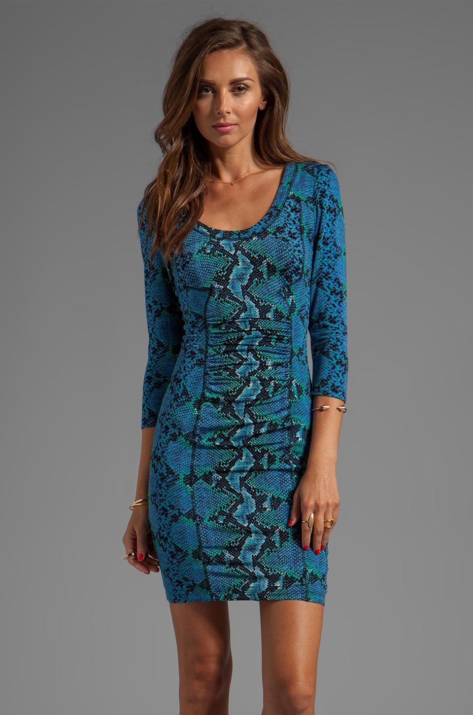 Tracy Reese Printed Jersey Matte/Slink Sheath Dress in Turkish Blue Python