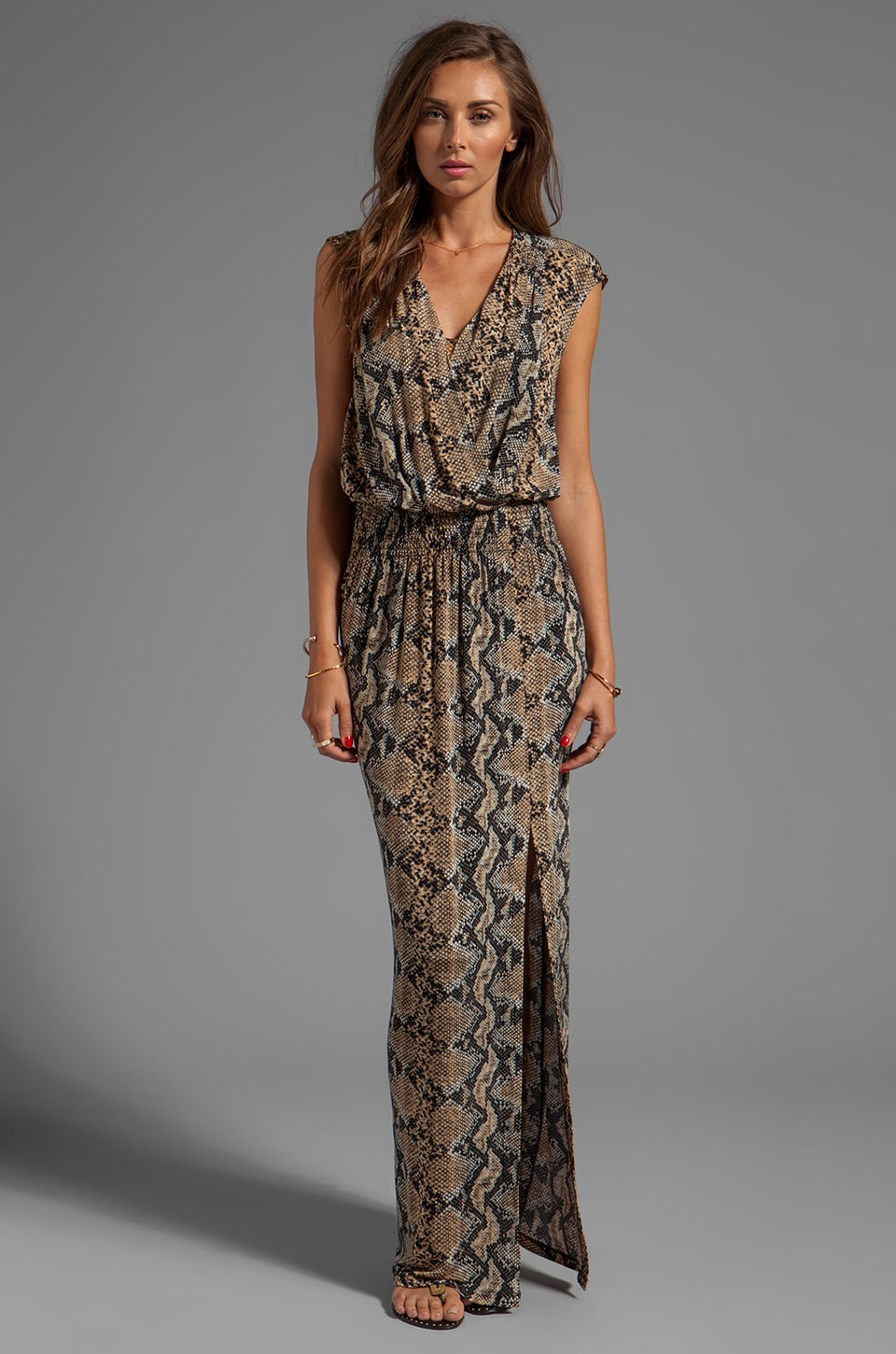 Tracy Reese Printed Jersey Maxi Surplice in Neutral Python