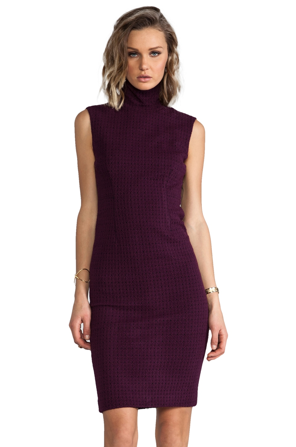 Tracy Reese Novelty Knit Lace Back Shift Dress in Magenta