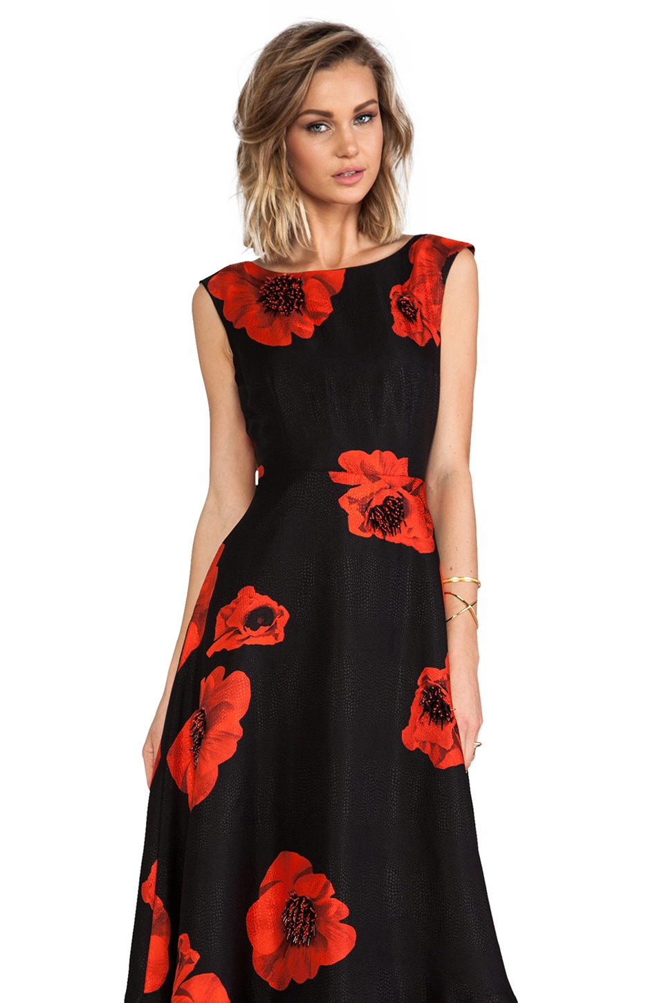 Tracy Reese Scarlet Floral Embellished Flared Frock in Black/Scarlet