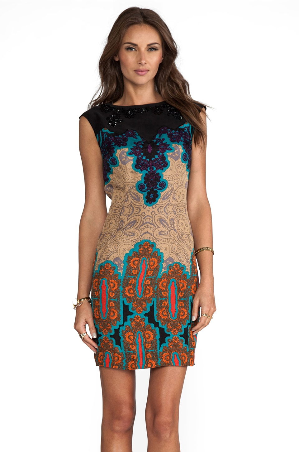 Tracy Reese Medallion Sarasatic Print Placement Shift Dress in Multi