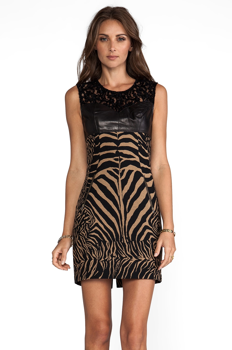 Tracy Reese Zebra/Ocelot Stretch Jacquard Combo Shift With Leather Dress in Tan/Black