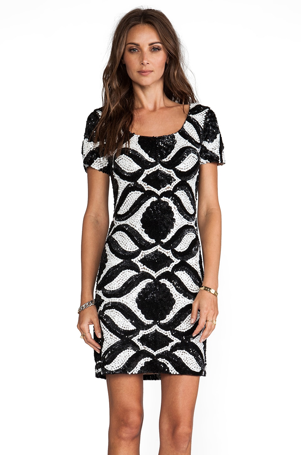 Tracy Reese Beaded Shifts Medallion Shift in Black/Ivory