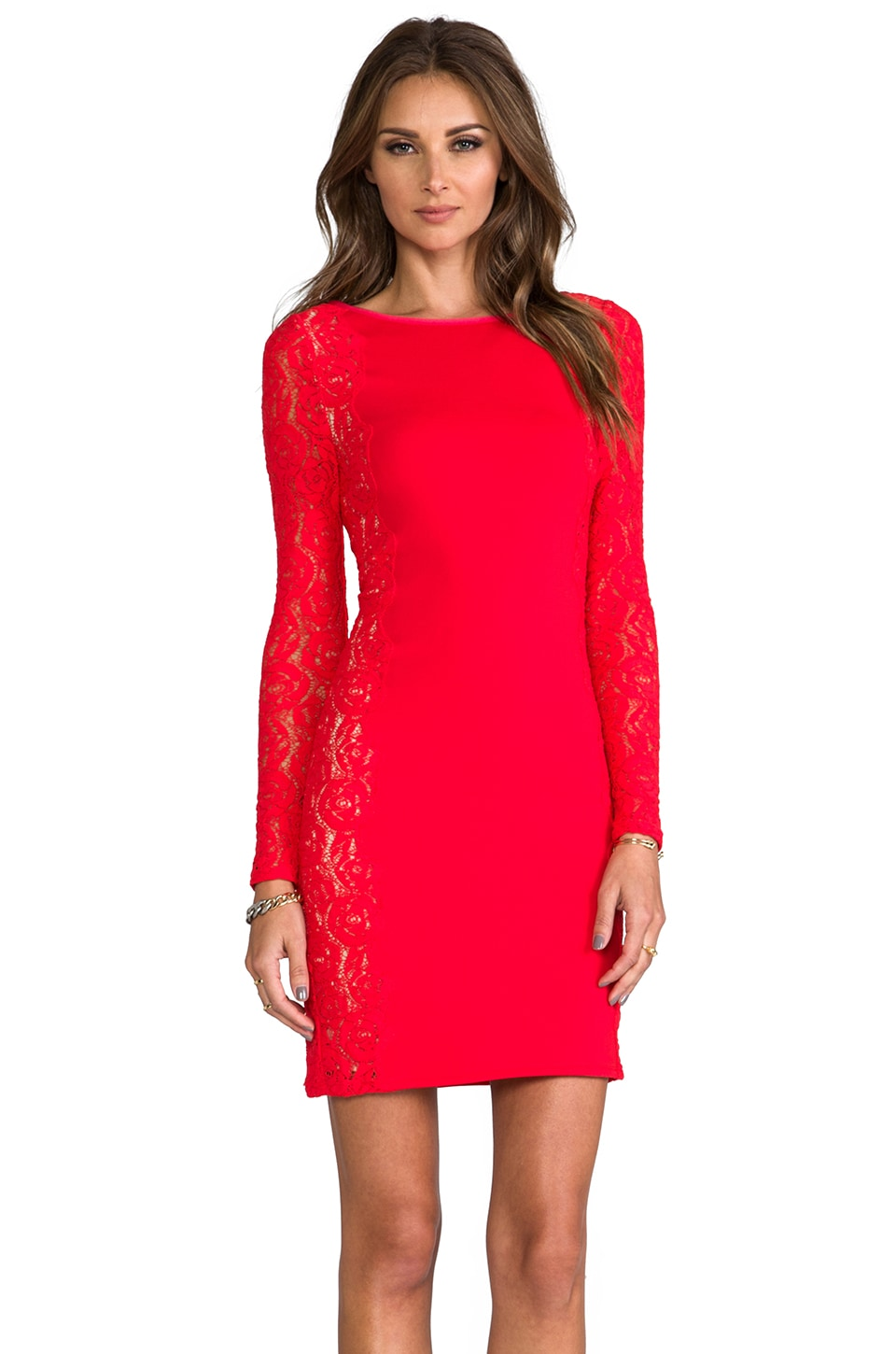 Tracy Reese Sheath Dress with Lace in Scarlet