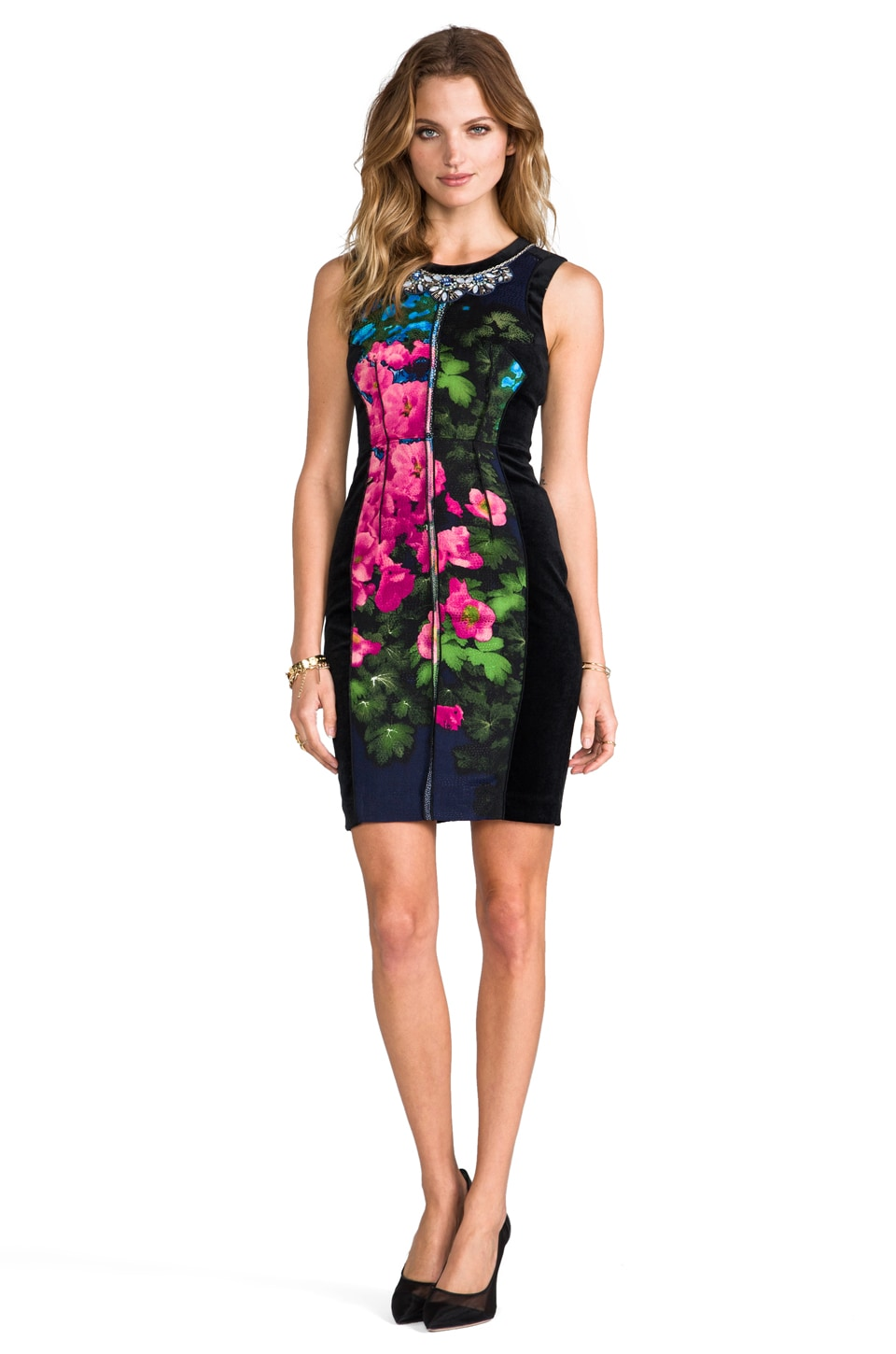 Tracy Reese Contrast Shift Dress in Hydrangea Placement