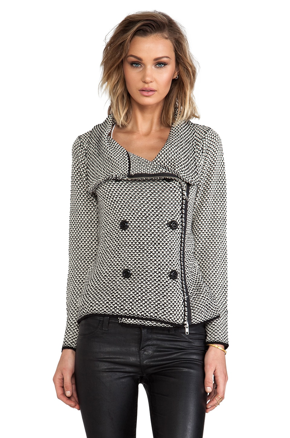 Tracy Reese Fall Specials Tweed Cardigan in Black/Ivory