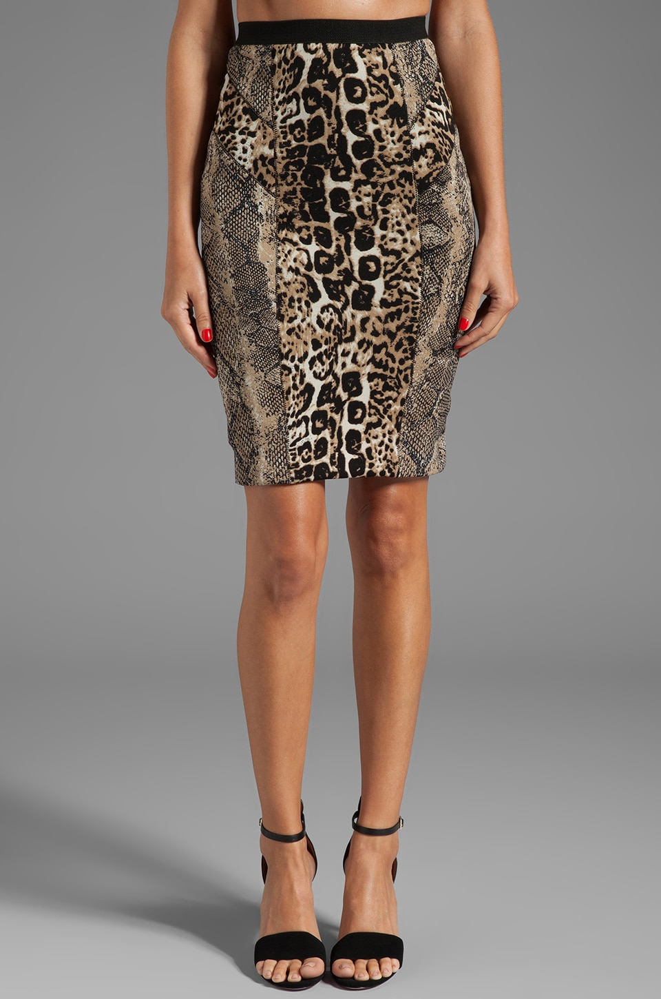 Tracy Reese Printed Neoprene Combo Skirt in Python/Cheetah