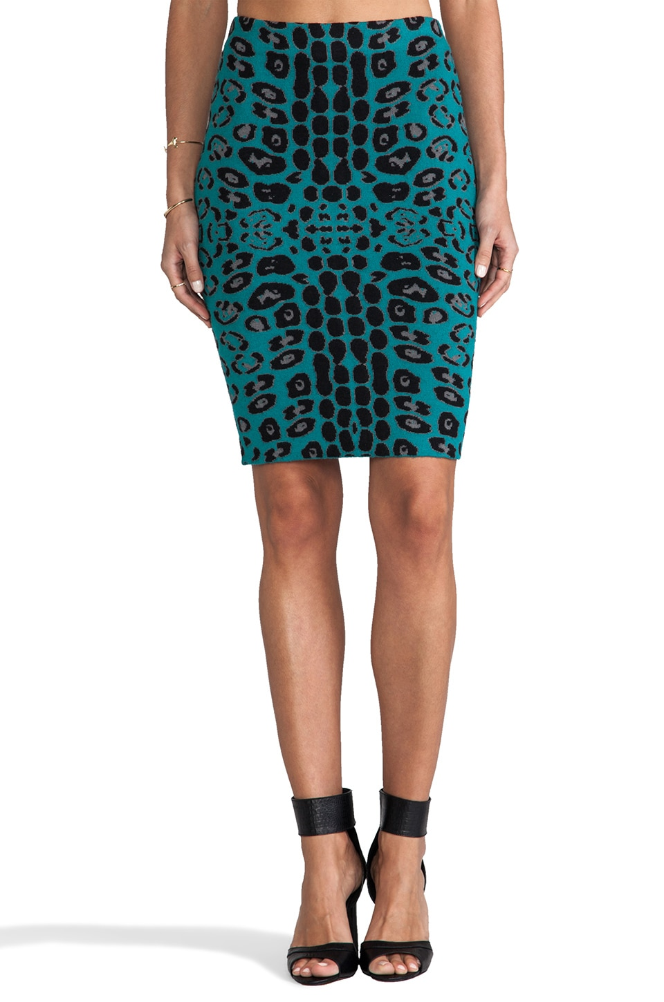 Tracy Reese Animal Jacquard Knit Tube Skirt in Teal
