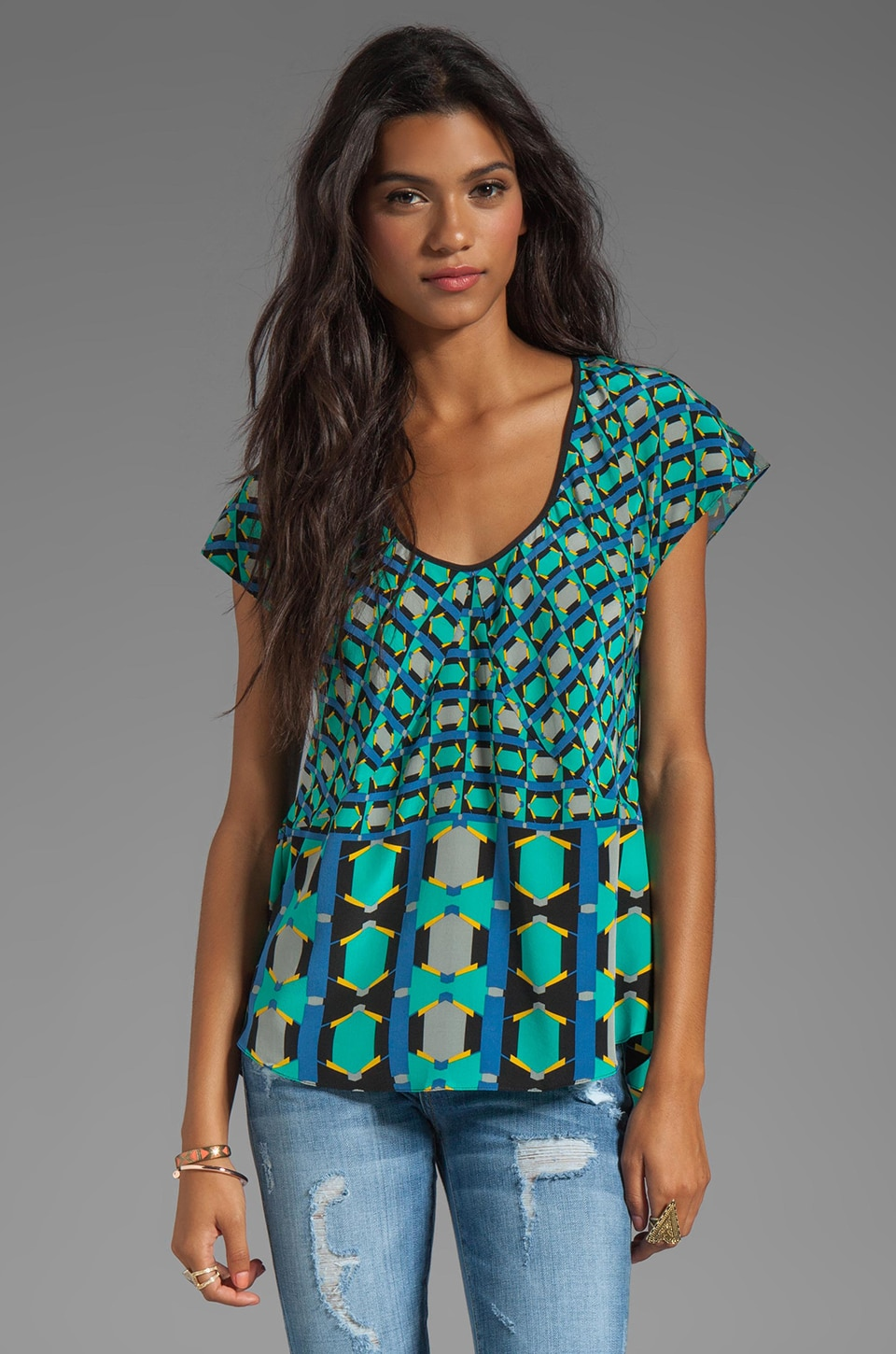 Tracy Reese Silk Prints Combo Blouse in Geometric Tie