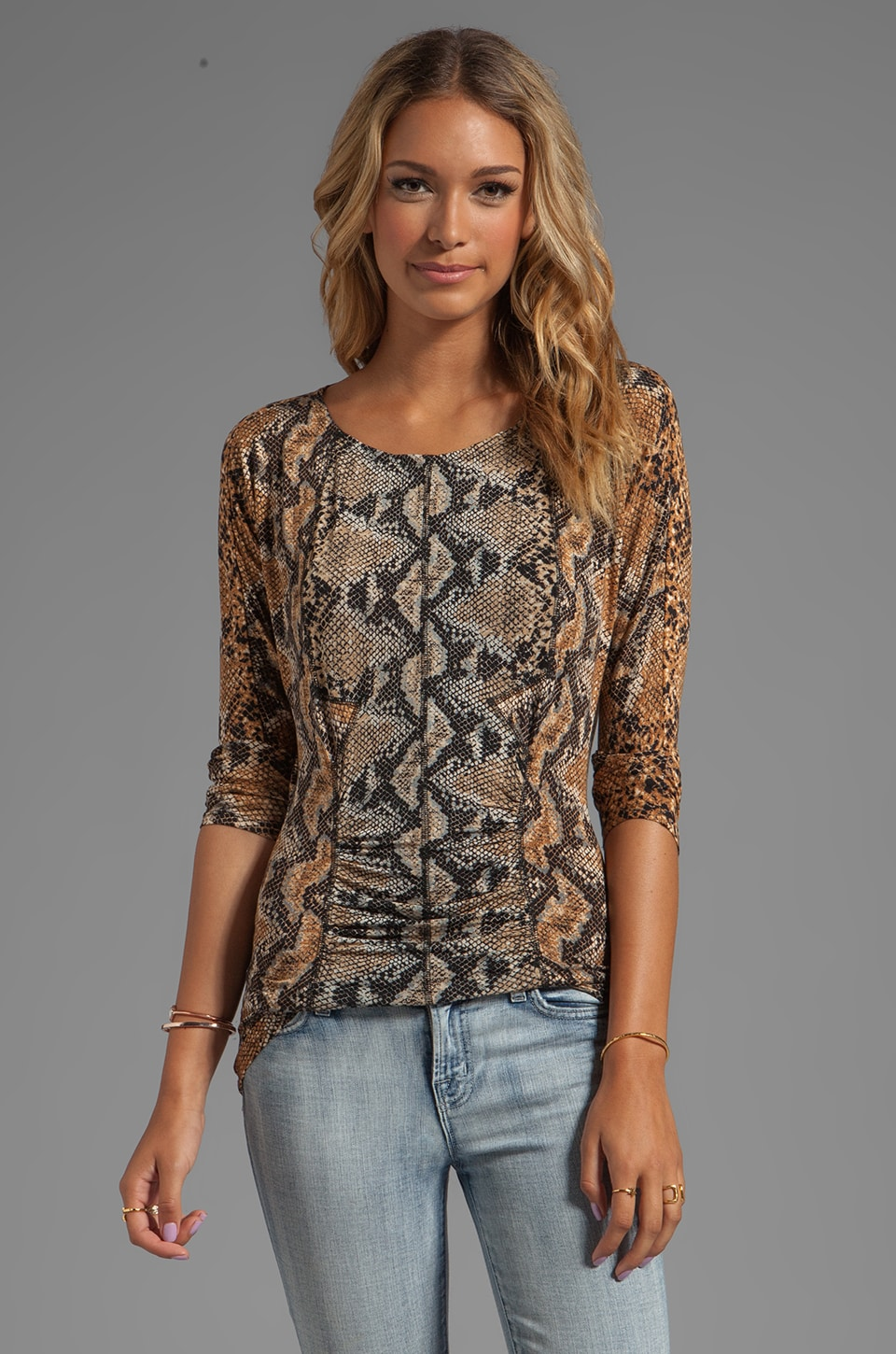 Tracy Reese Printed Jersey Matte/Slink Dolman T in Neutral Python