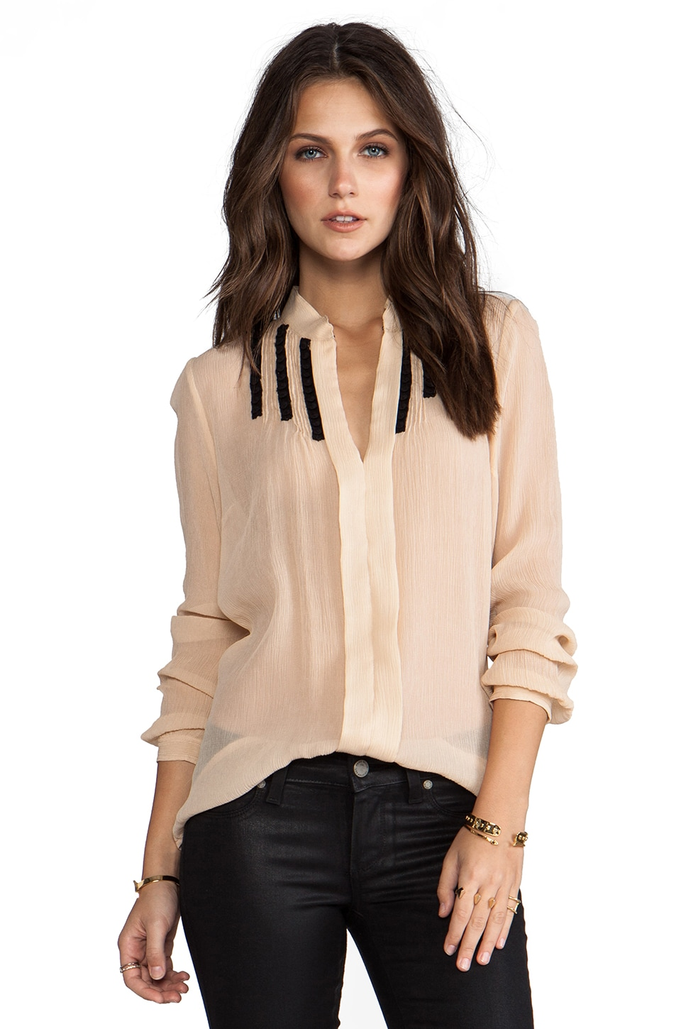 Tracy Reese Soft Solids Inset Shirt in Champagne