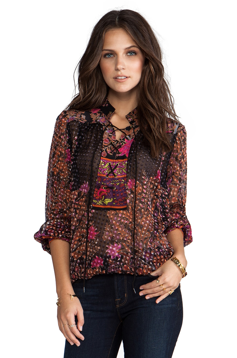 Tracy Reese Silk Prints Lace-Up Blouse in Tree Of Life