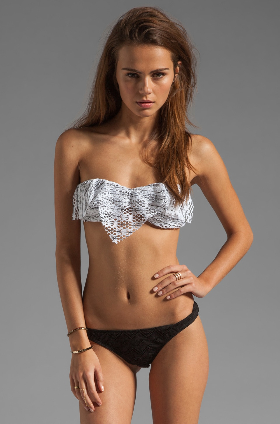 Tyler Rose Swimwear Gypsy Crochet Bandeau in White/Black Stripe