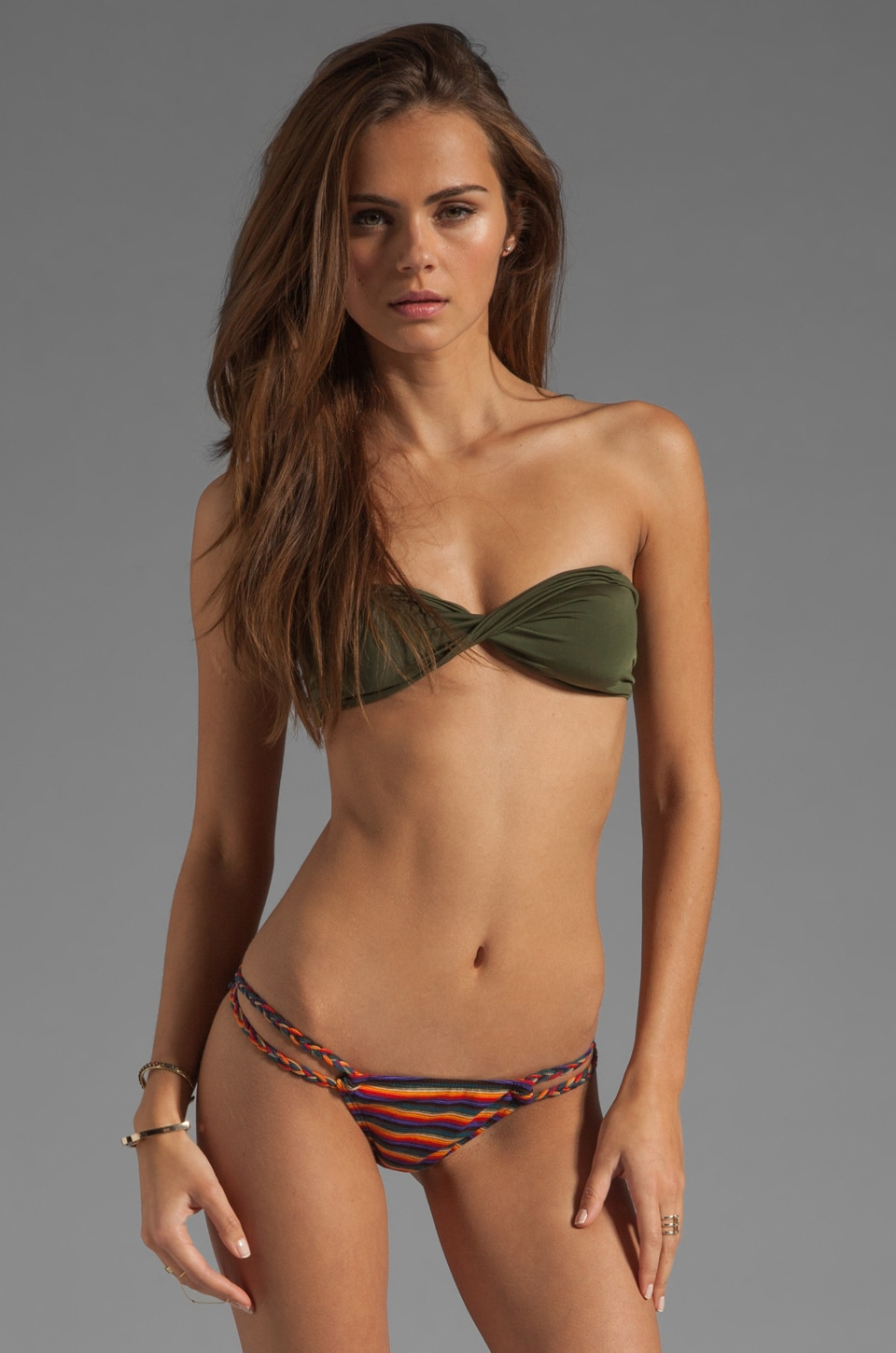 Tyler Rose Swimwear You Make Loving Fun Bandeau in Army Green