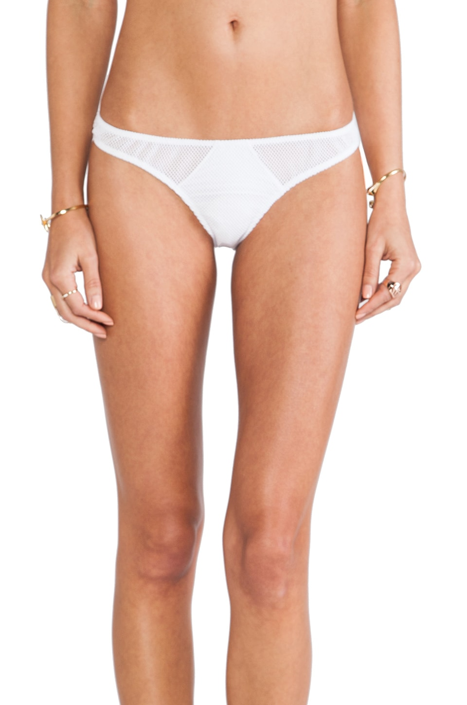 Tyler Rose Swimwear Jarret Cutout Mesh Bottom in White