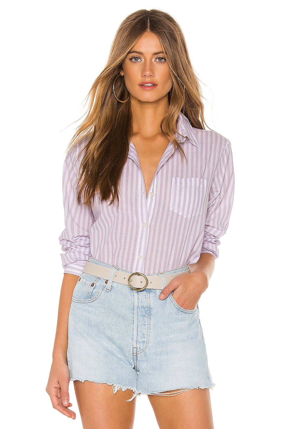 Birds of Paradis by Trovata Grace Classic Button Down in Lavender Stripe