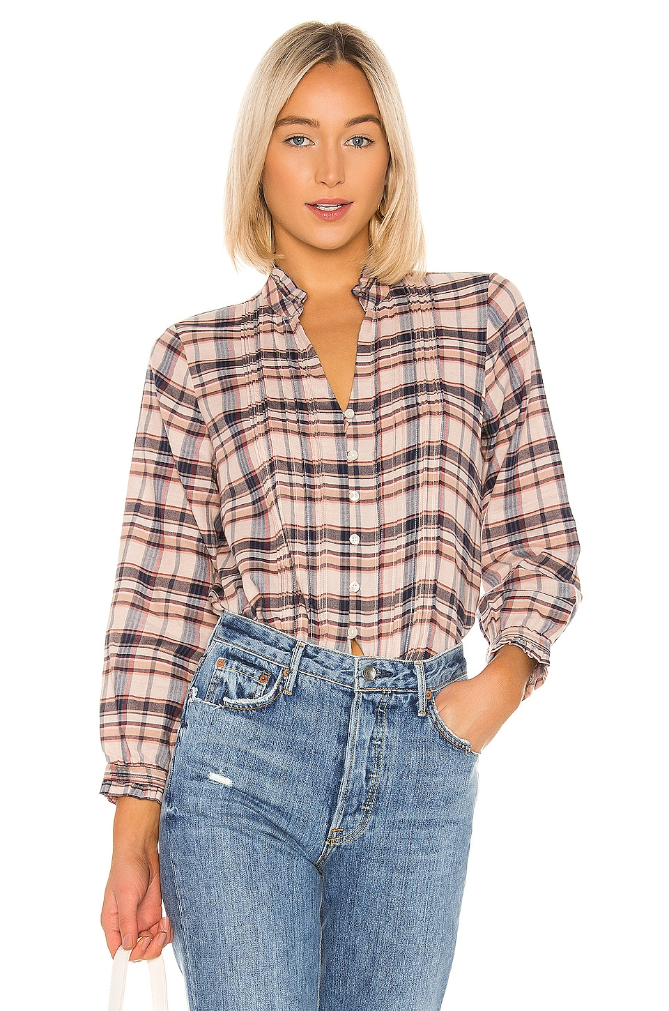 Birds of Paradis by Trovata Finley Pintuck Blouse in Blush Plaid