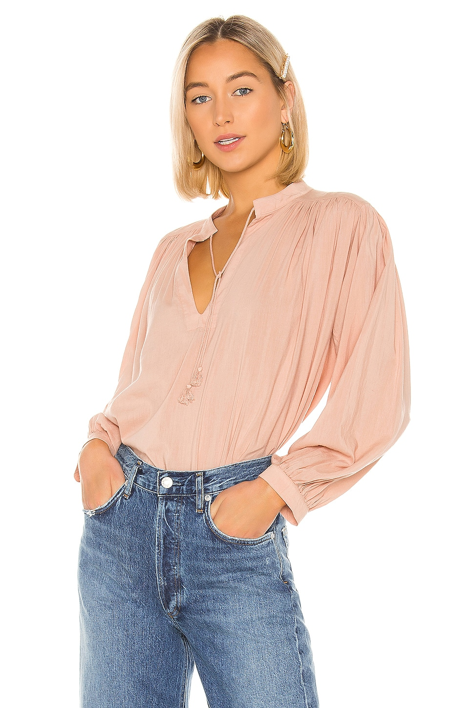 Birds of Paradis by Trovata Colette Long Sleeve Bohemian Blouse in Blush