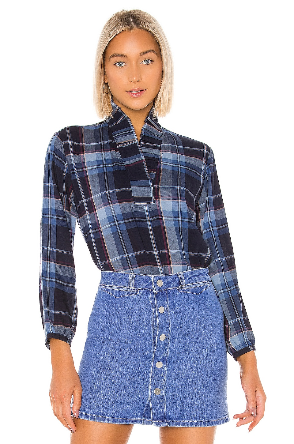 Birds of Paradis by Trovata Erica Pleated Collar Blouse in Blue Plaid