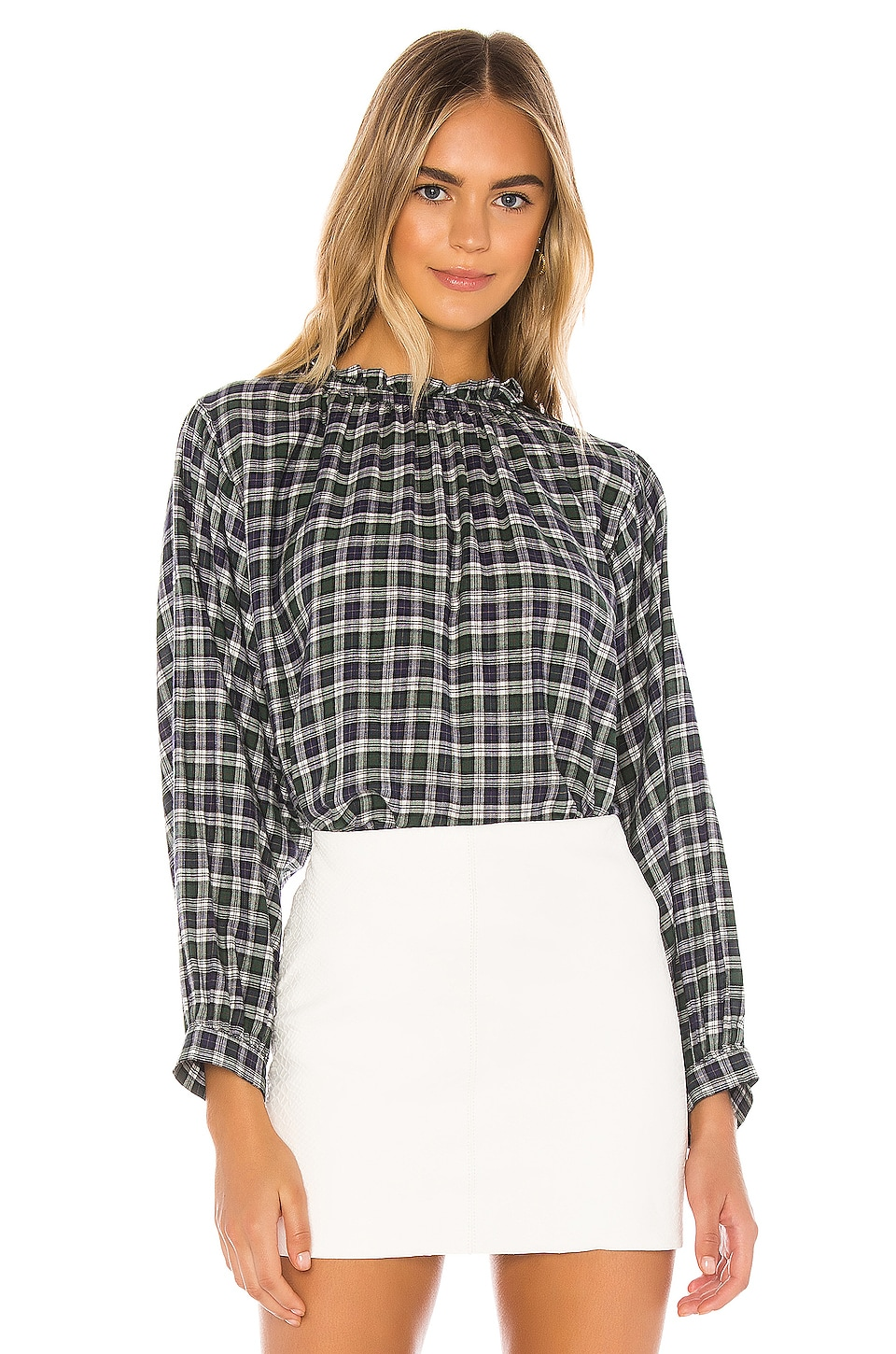 Birds of Paradis by Trovata Talia Blouse in Navy & Green Plaid