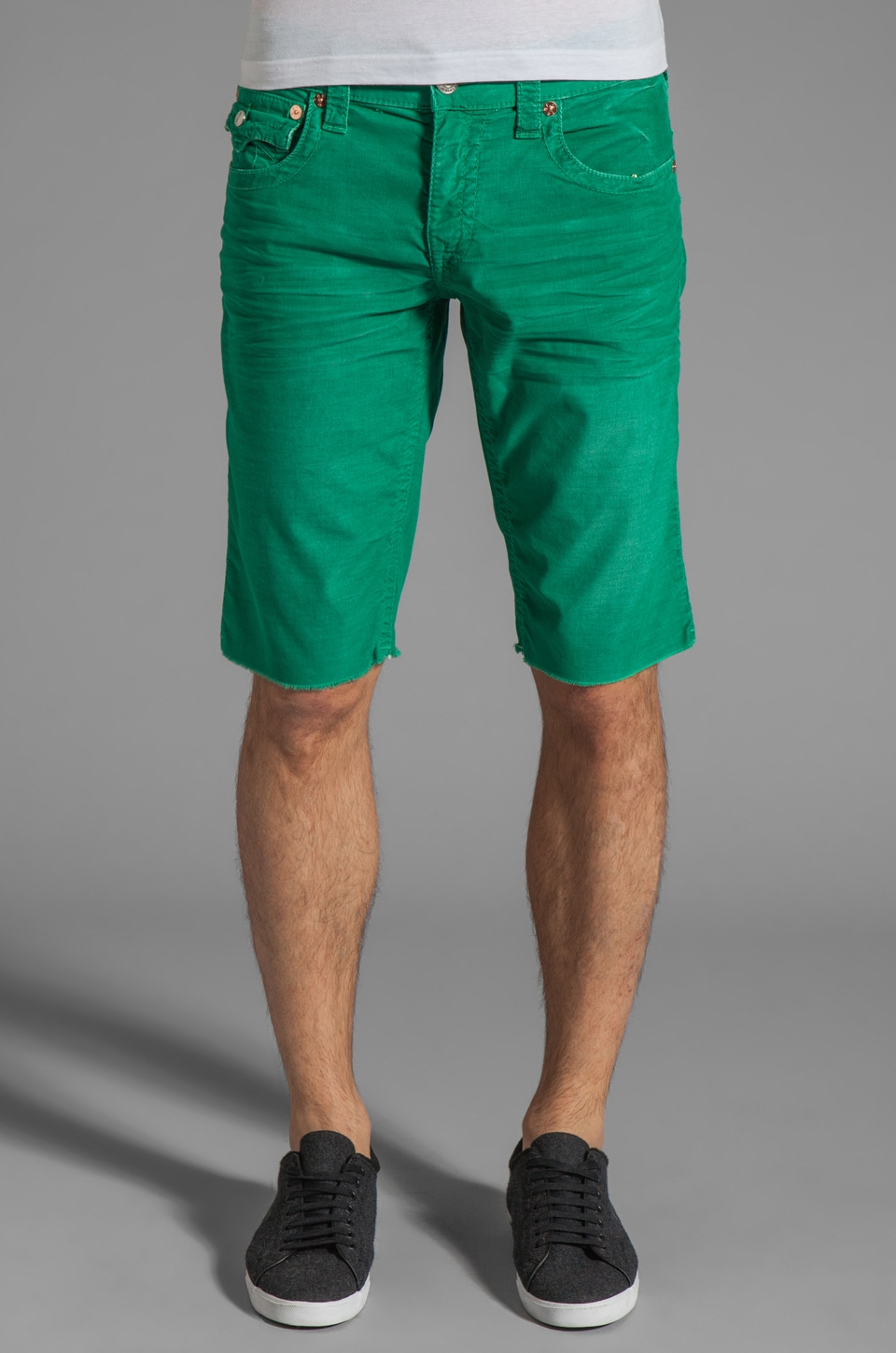 True Religion Ricky Corduroy Cut Off Short in Kelly Green