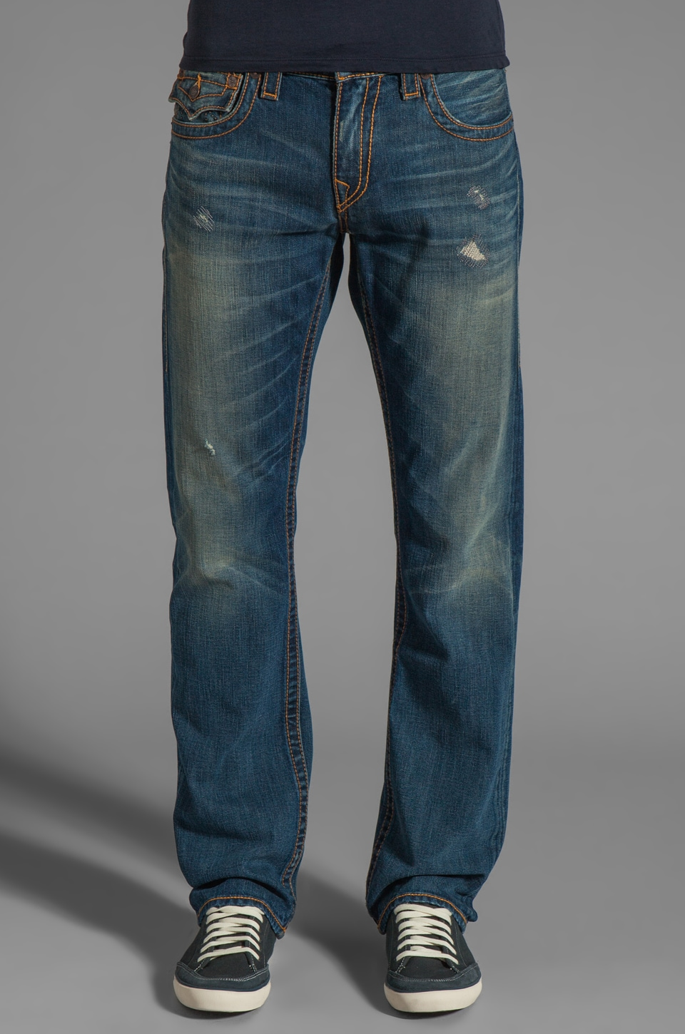 True Religion Ricky Studded Logo Straight Leg in Trailwinds
