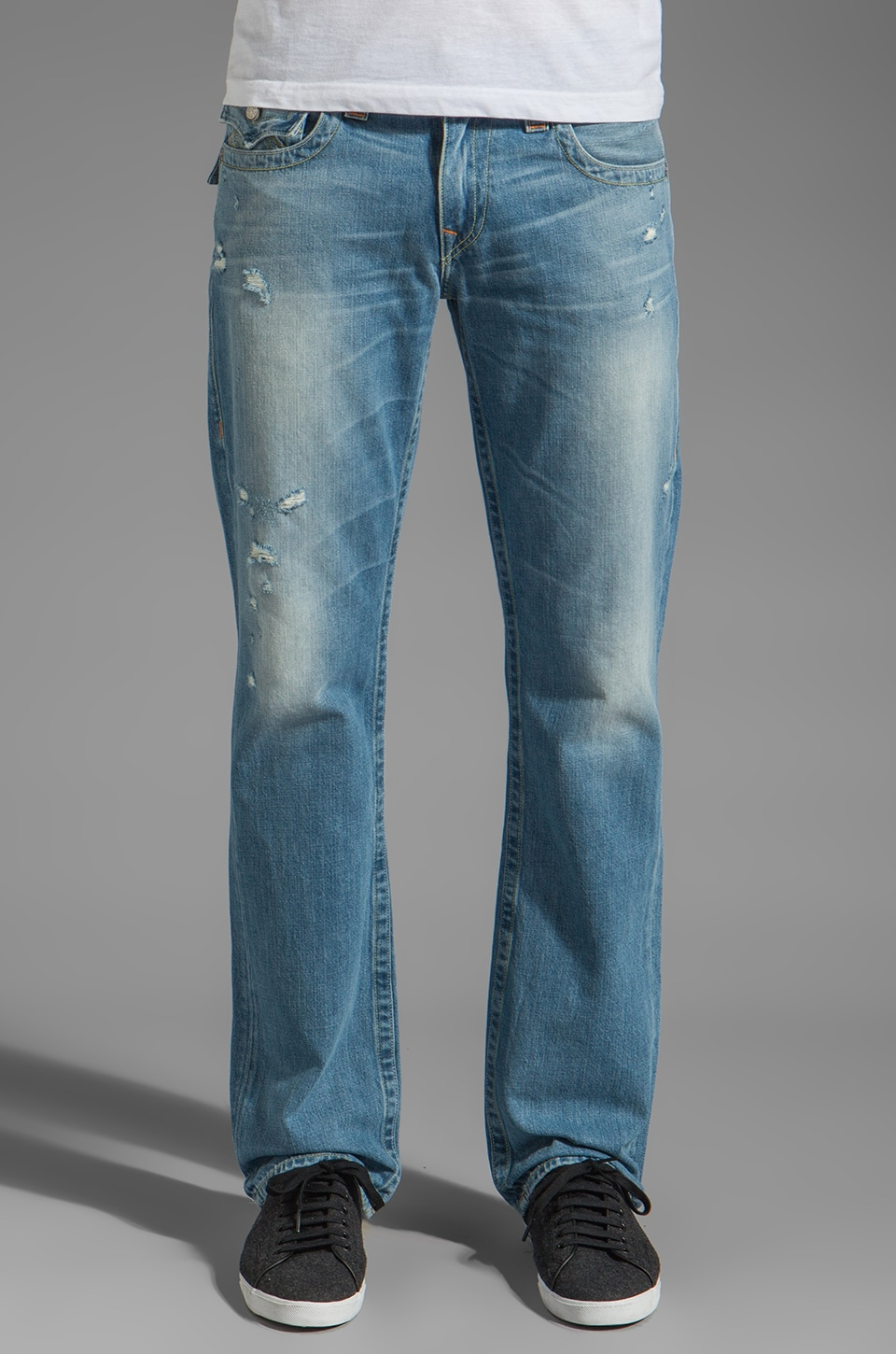 True Religion Ricky Multi Stitch Straight Leg in Jameson