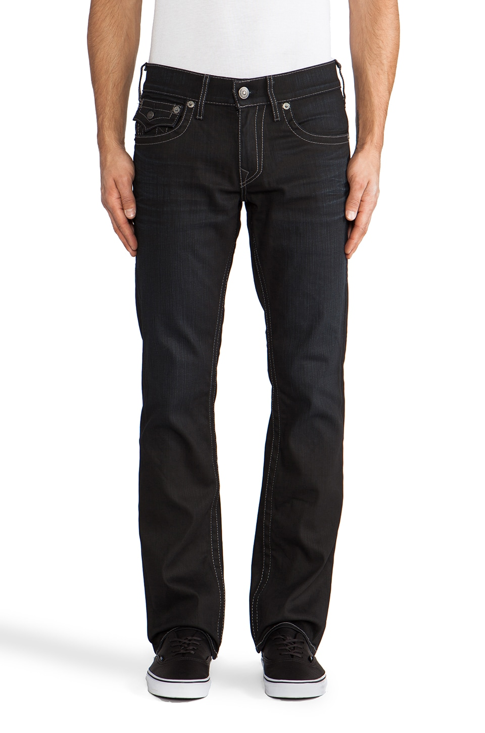 True Religion Ricky Straight Leg Coated Denim in Black Rider