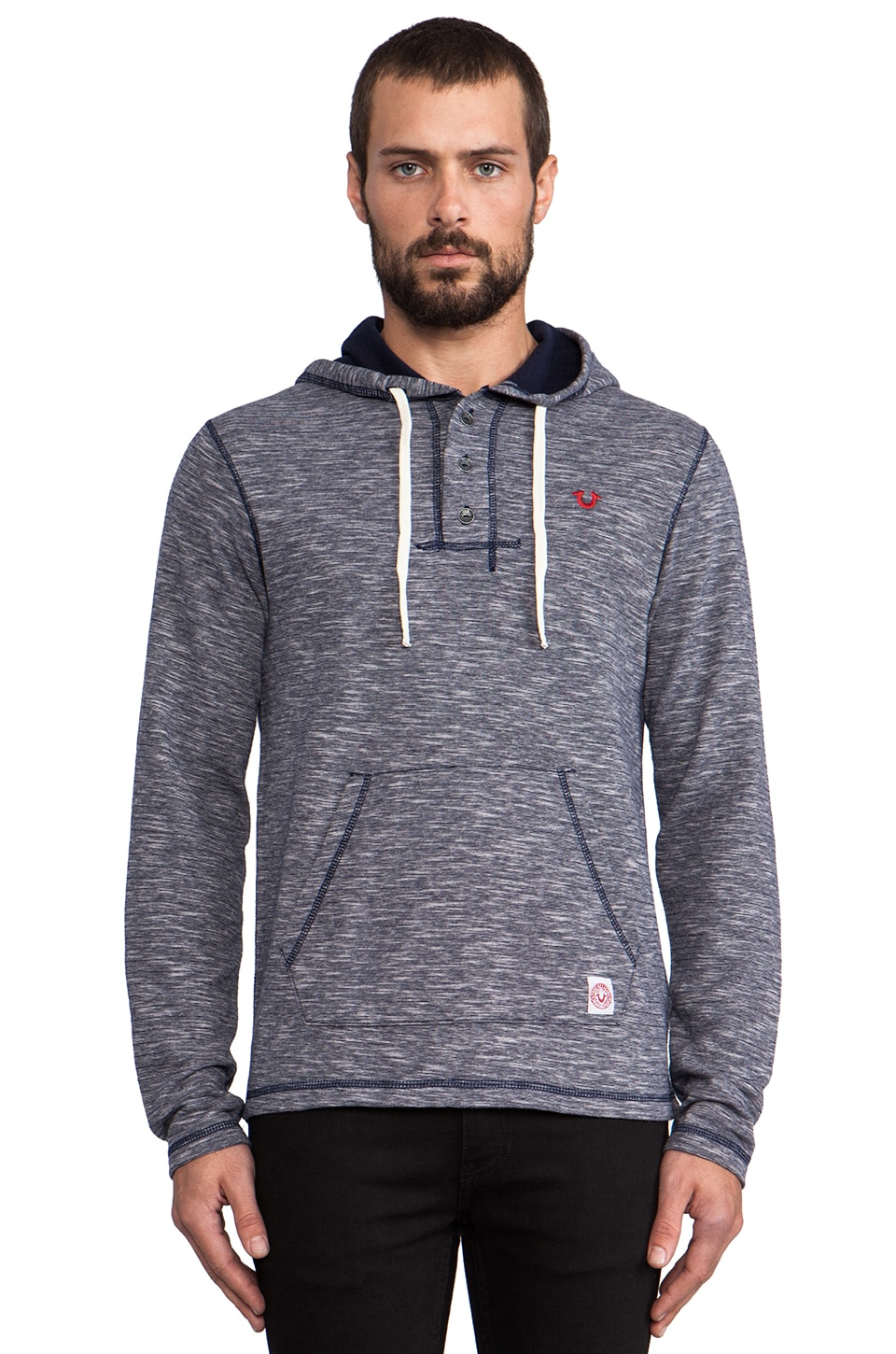 True Religion Hooded Henley in Dark Navy