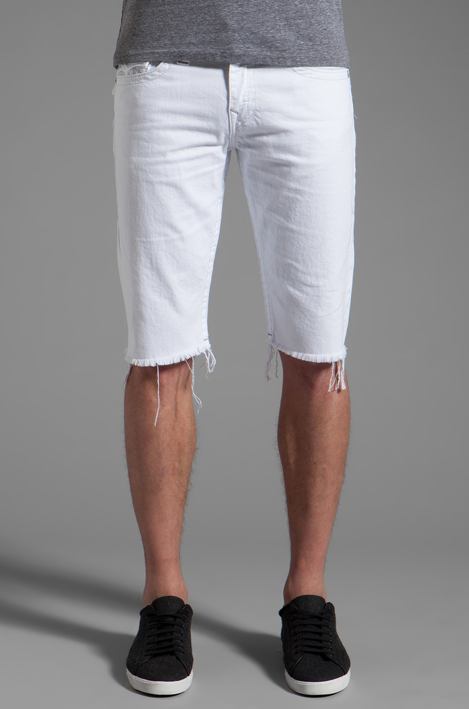 True Religion Rick Cut Off Short in Optic White