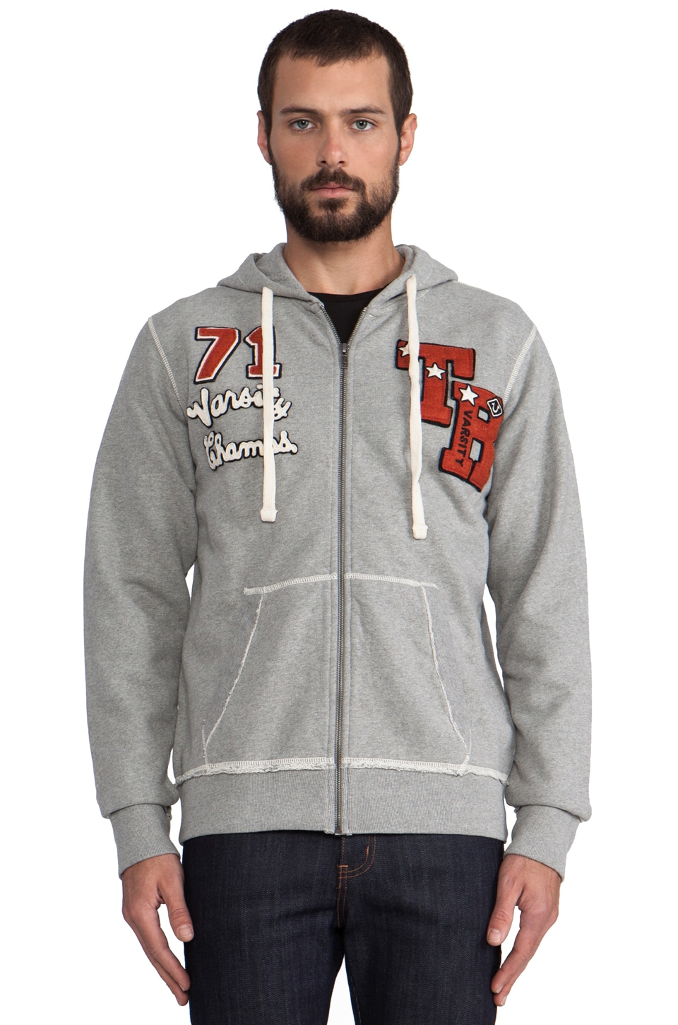 True Religion Varsity Champs Hoodie in Heather Grey