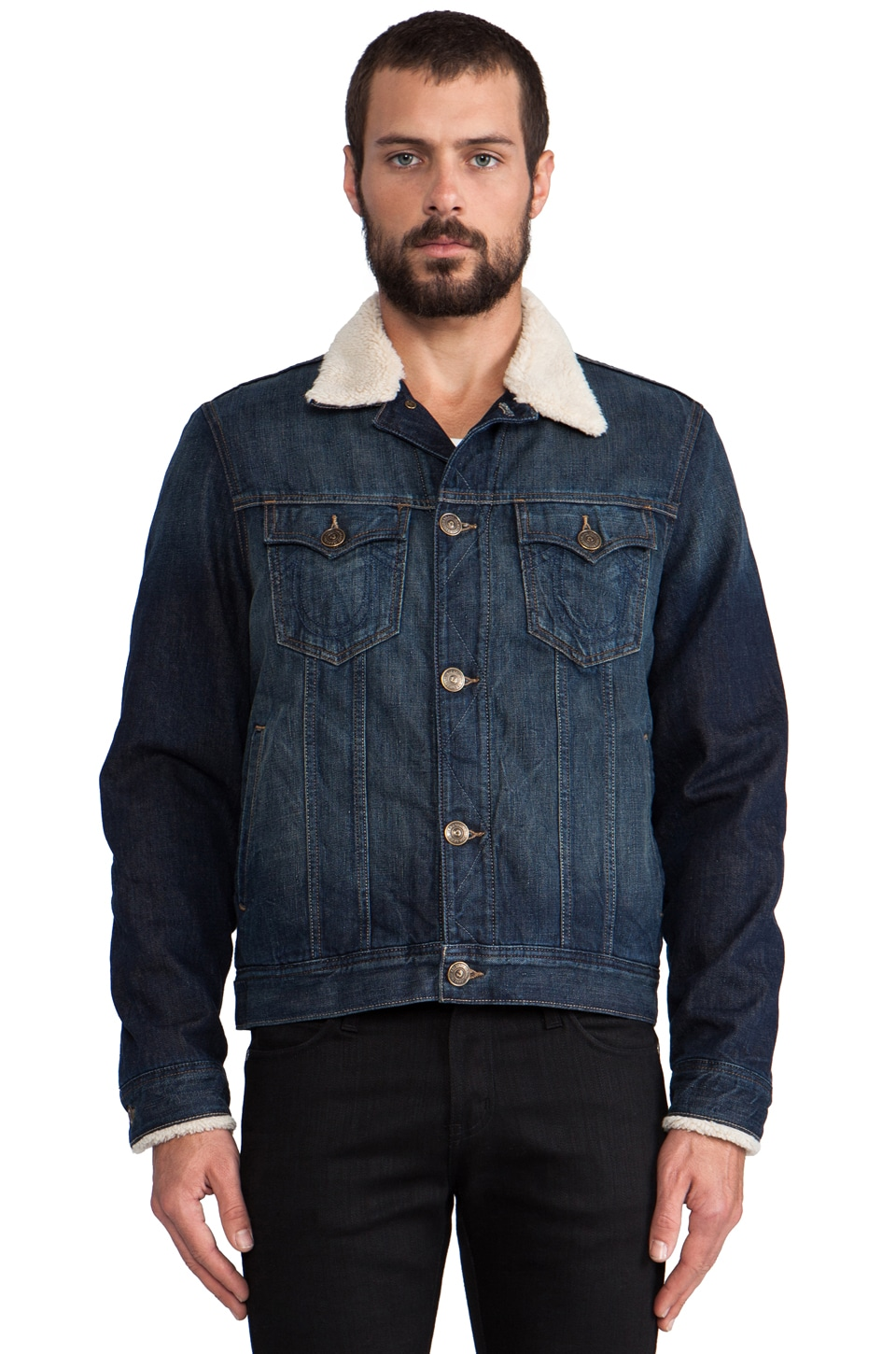 True Religion Wayne Faux Sherpa Lined Denim Jacket in El Dorado Canyon