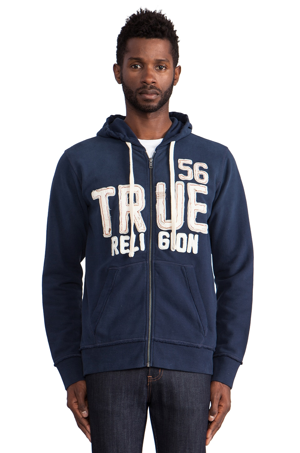 True Religion True Applique Hoodie in Dark Navy
