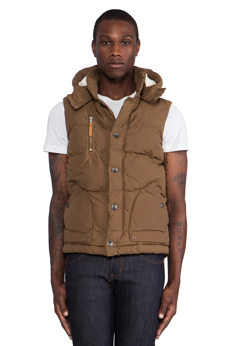 True Religion Waxed Canvas Puffer Vest in Dark Khaki