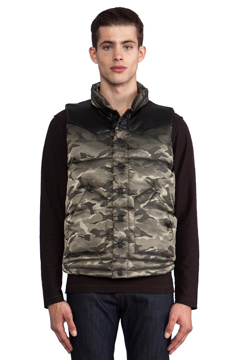 True Religion Nylon Puffer Vest in Army Camo