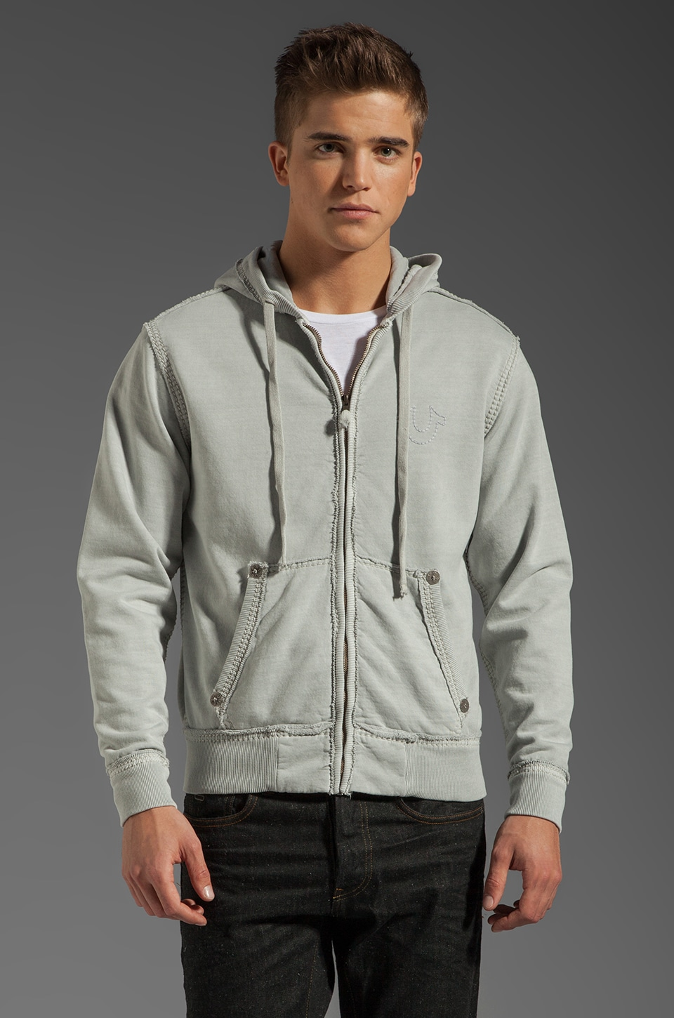 True Religion Fleece Big T Hoodie in Faded Pebble Grey