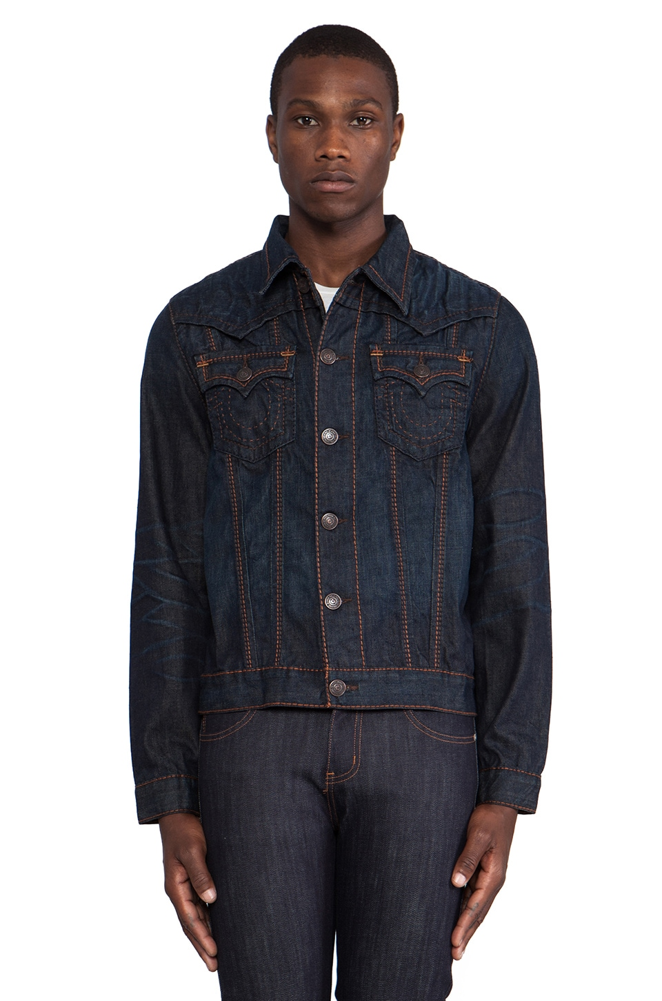 True Religion Jimmy Big T Western Jacket in Textline Hill
