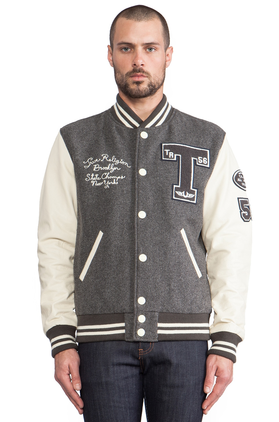 True Religion Richie Letterman Jacket in Charcoal