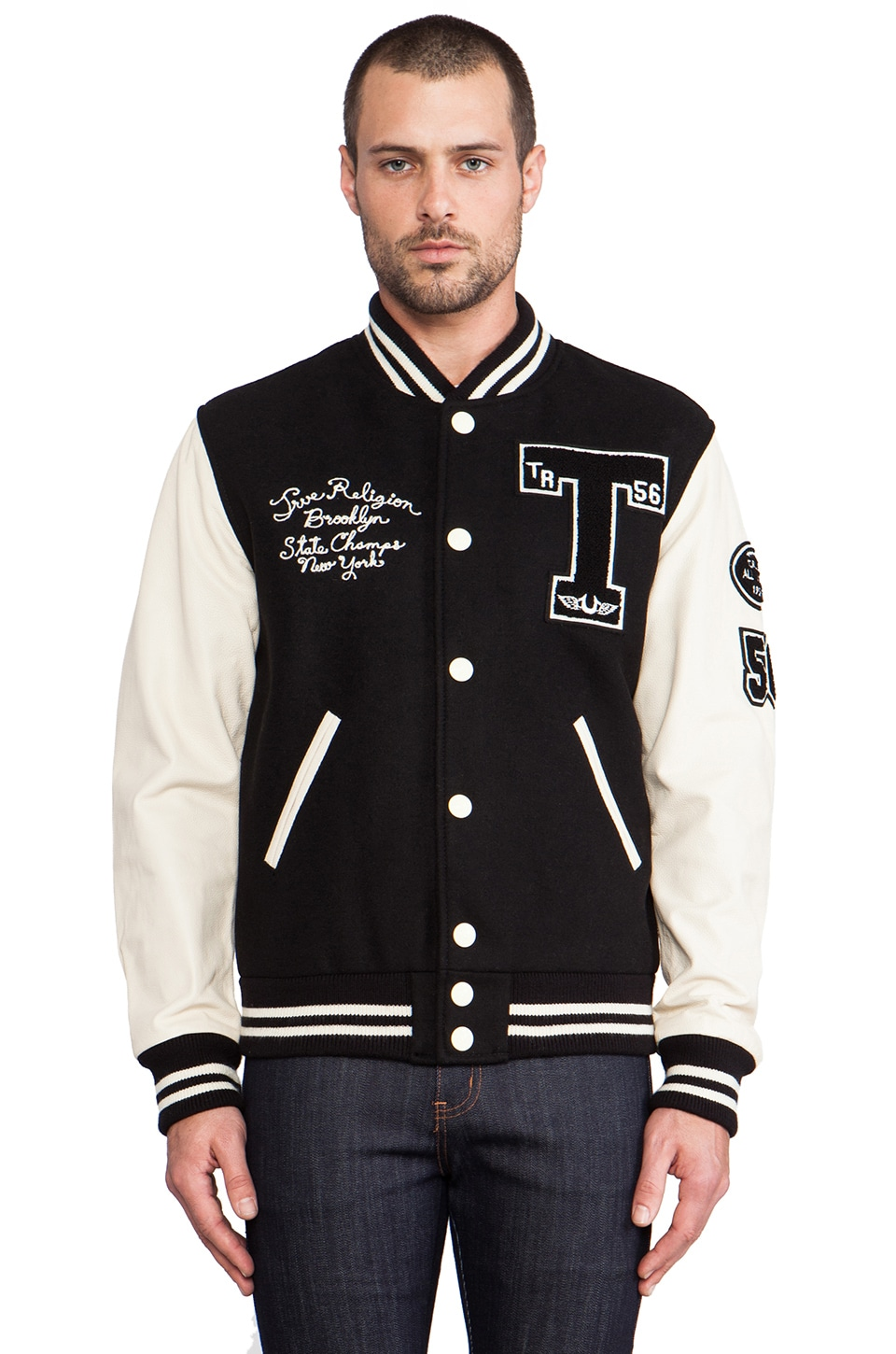 True Religion Richie Letterman Jacket in Black