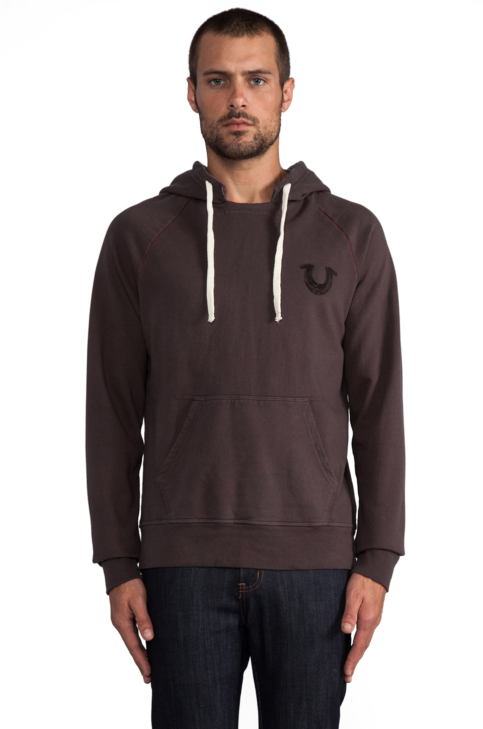 True Religion Branded Hoodie in Charcoal