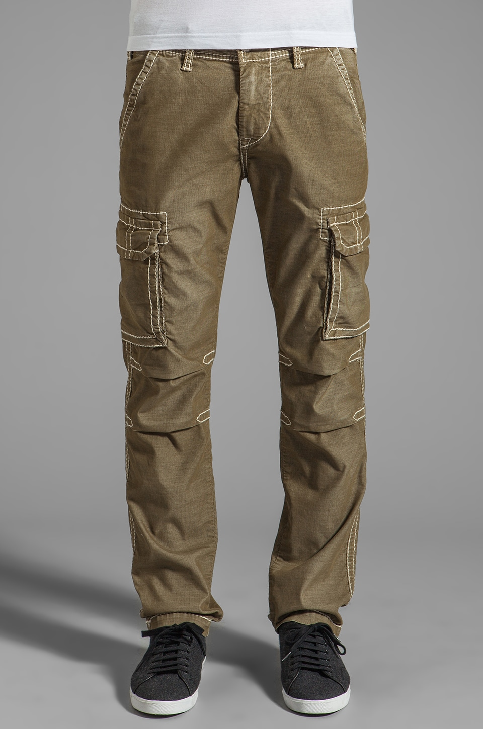 True Religion Anthony Big T Slim Cargo in Sage