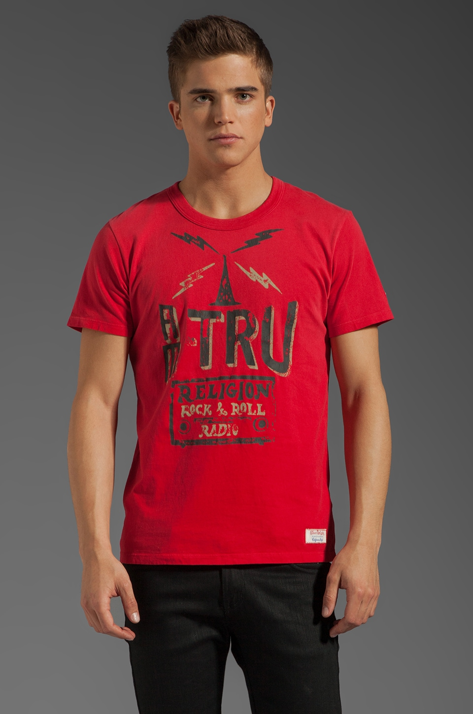 True Religion KTRU Short Sleeve Crew in Red