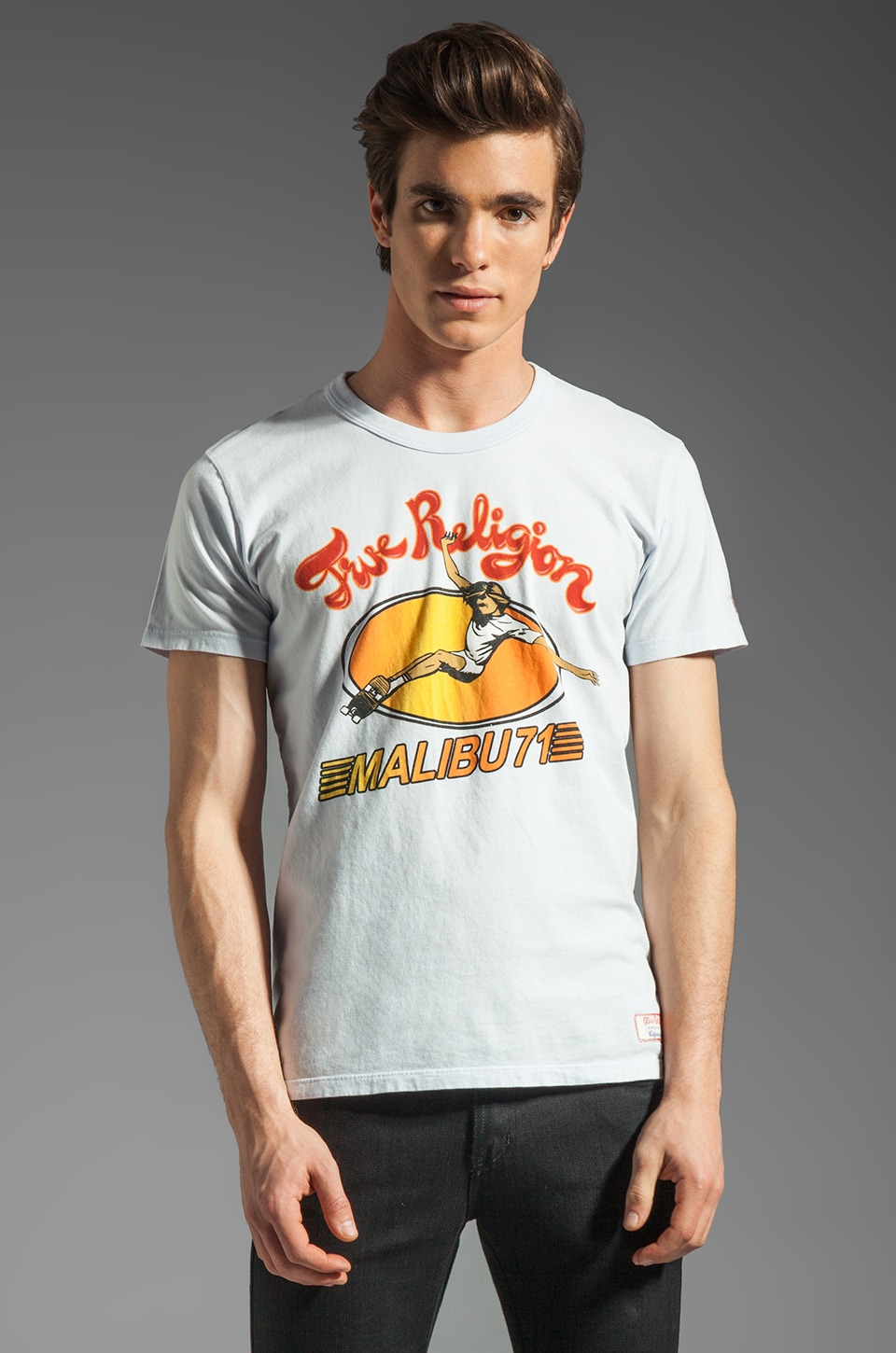 True Religion Malibu Skater Tee in Sky Blue